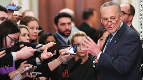 US Senate Minority Leader Chuck Schumer (D-NY) speaks to reporters during the first day of the Senate impeachment trial of US President Donald Trump at the US Capitol in Washington, DC, January 21, 2020. - Sparks flew Tuesday over proposed rules for the Senate trial of President Donald Trump, as Democrats accused Republicans of attempting a