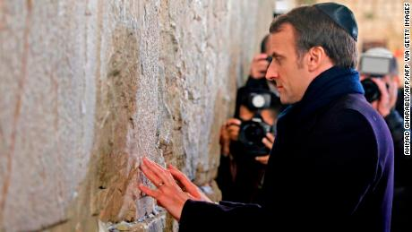 Macron is in Jerusalem to attend a large Holocaust remembrance event on Thursday.