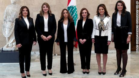 Women ministers in the new government, from left to right; Minister of Labor Lamia Yammine, Justice minister Marie-Claude Najem, Defense Minister Zeina Akar, Minister of Youth and Sports Vartie Ohanian, Minister of Information Manal Abdul-Samad and Minister of Displaced Ghada Shreim, posing for an official picture at the Presidential Palace in Baabda, east of Beirut, Lebanon, Wednesday, Jan. 22, 2020.