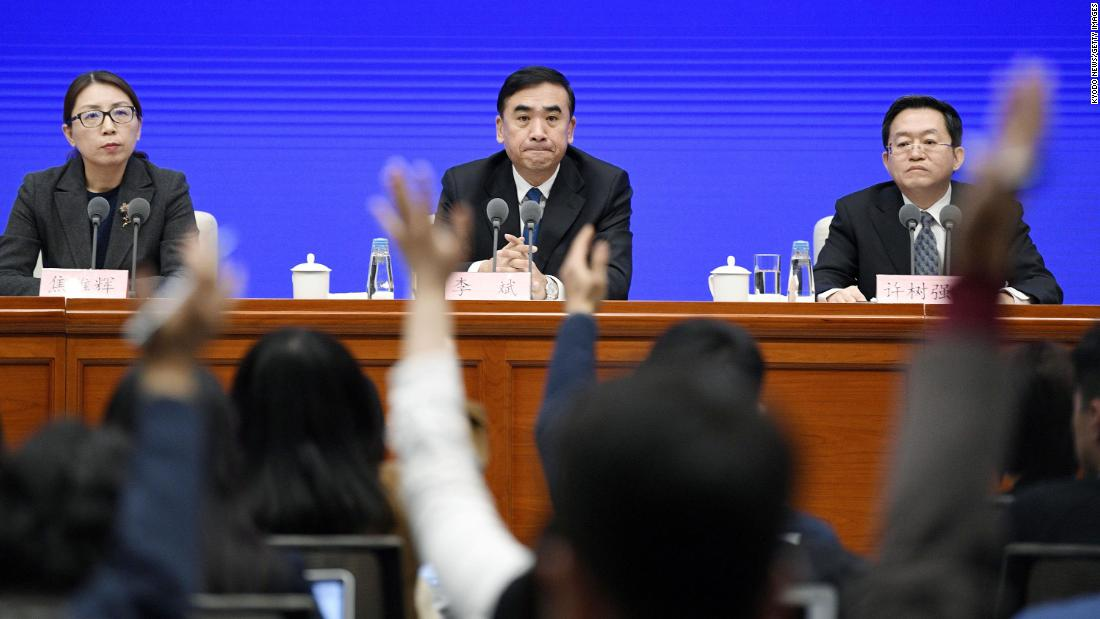 Health officials hold a news conference in Beijing on January 22.