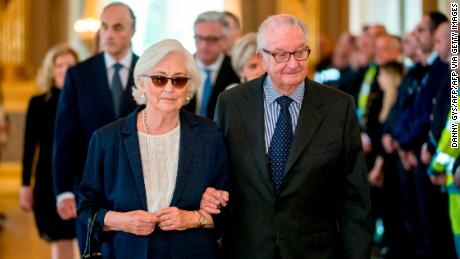 Queen Paola and King Albert II of Belgium in Brussels on May 22, 2016.