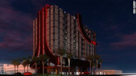 A rendering of an Atari Hotel.