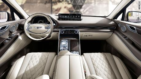 The Genesis GV80's interior has clean lines, quilted leather and wood trim.