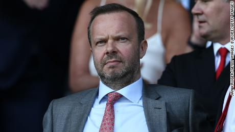 Ed Woodward looks on prior to the Premier League match between Everton and Manchester United.
