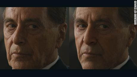 Al Pacino's face before and after de-aging technology is applied.