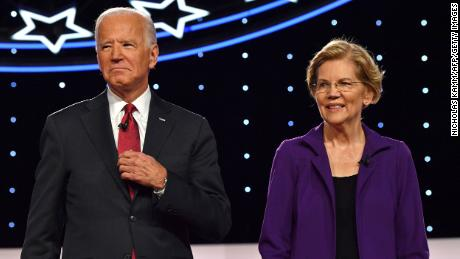 Biden and Warren arrive onstage for the fourth Democratic primary debate of the 2020 presidential campaign season co-hosted by The New York Times and CNN at Otterbein University in Westerville, Ohio on October 15, 2019.