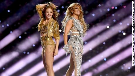 Shakira and Jennifer Lopez perform onstage during last year's Super Bowl LIV Halftime Show at Hard Rock Stadium in Miami.