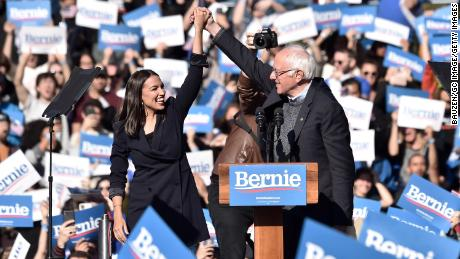NEW YORK, NEW YORK - OCTOBER 19: Alexandria Ocasio-Cortez endorses 2020 democratic presidential candidate Bernie Sanders at a Bernie Sanders campaign rally in Queensbridge Park on October 19, 2019 in Queens, New York City. (Photo by Bauzen/GC Images)
