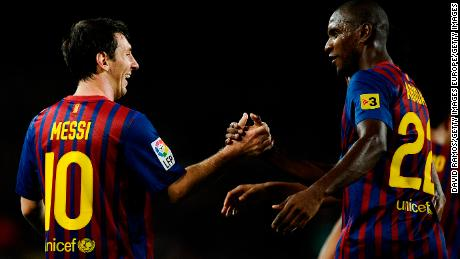 Messi and Eric Abidal were teammates together at Barcelona.