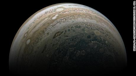 A koi fish-like formation in the upper clouds of Jupiter, captured on perijove 24 of the Juno mission.