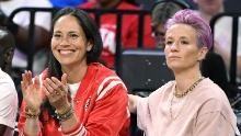 Sue Bird (left) and Megan Rapinoe (right) attended the WNBA All-Star Game.