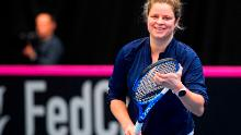 Kim Clijsters attends a training session of the Belgian tennis national team.