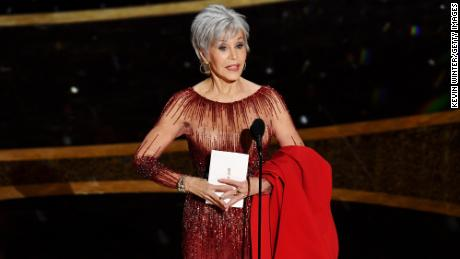 Jane Fonda speaks onstage during the 2020 Academy Awards in Hollywood, California.