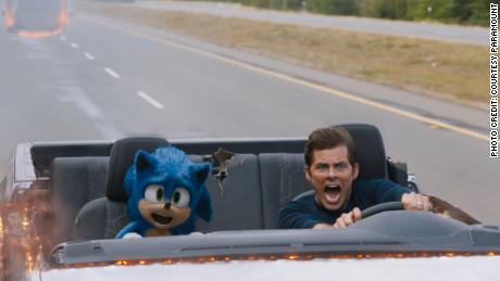 Sonic (Ben Schwartz) and James Marsden in 'Sonic the Hedgehog.' (Courtesy Paramount Pictures and Sega of America.)