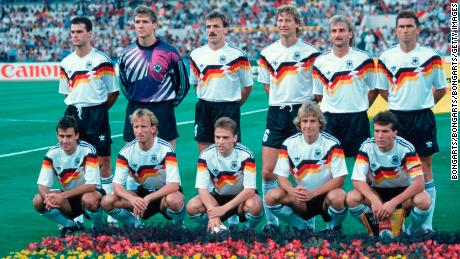 Klinsmann (bottom row, second from the right) won the 1990 FIFA World Cup with West Germany, a feat he was unable to replicate as manager of a unified Germany in 2006.