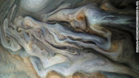 A view of the upper clouds of Jupiter taken by JunoCam on perijove 16 of the Juno mission.