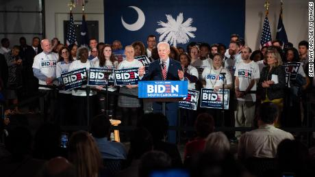 Biden addresses the crowd during a South Carolina campaign launch party on February 11 in Columbia, South Carolina.