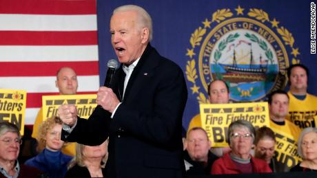 Biden clenches his fist as he speaks at a campaign event, February 5, in Somersworth, New Hampshire.