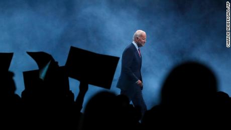 Biden walks on stage to speak at the Iowa Democratic Party's Liberty and Justice Celebration, November 2019, in Des Moines, Iowa.