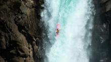 Dane Jackson drops a large waterfall on the Salte Maule river.