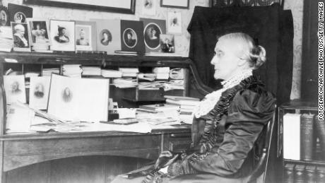 Portrait of Susan B. Anthony sitting at a desk, circa 1868.
