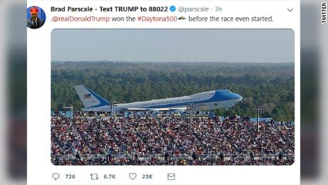 The now-deleted tweet by Brad Parscale.