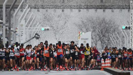 Runners start the 2019 Tokyo Marathon.