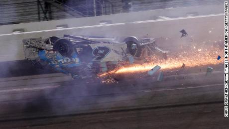 Ryan Newman crashes during the Daytona 500 in February.