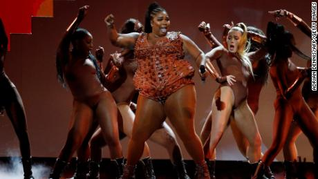 Lizzo performs during the Brit Awards 2020 ceremony in London on February 18.