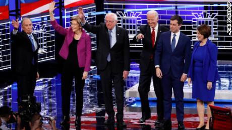 From left, Democratic presidential candidates, former New York City Mayor Michael Bloomberg, Sen. Elizabeth Warren, D-Mass., Sen. Bernie Sanders, I-Vt.,former Vice President Joe Biden, former South Bend Mayor Pete Buttigieg, Sen. Amy Klobuchar, D-Minn., stand on stage before a Democratic presidential primary debate