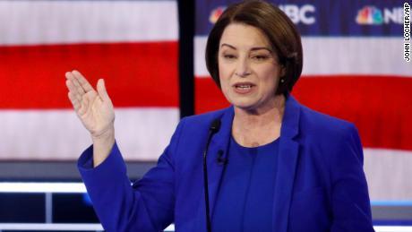 Klobuchar speaks during a Democratic presidential primary debate