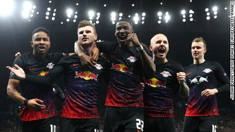 Werner (second left) has scored over a third of RB Leipzig's goals this season.