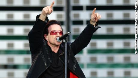 Bono performs at Twickenham Stadium in 2005 -- the venue the Irish rugby team will play at this weekend.