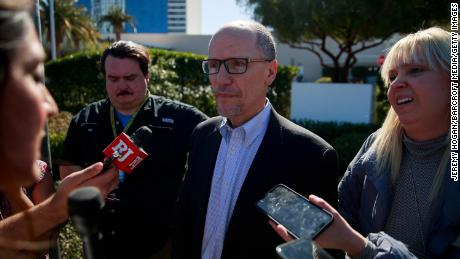 Tom Perez, Chair of the Democratic National Committee, speaks to the media after democratic presidential hopefuls joined the picket line with members of the Culinary Workers Union Local 226 outside the Palms Casino in Las Vegas.