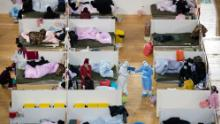 "Patients at night in a ""Fangcang hospital"" -- a makeshift quarantine shelter converted from the Hongshan Gymnasium in Wuhan."