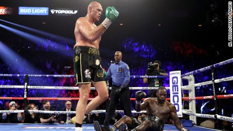 Tyson Fury knocks down Deontay Wilder in the fifth during their Heavyweight bout for Wilder's WBC and Fury's lineal heavyweight title on February 22, 2020 at MGM Grand Garden Arena in Las Vegas, Nevada.