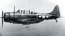 A SBD-5 Dauntless aircraft in flight