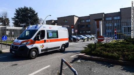 An ambulance leaves the municipal hospital in Codogno, southeast of Milan, on February 22, 2020.