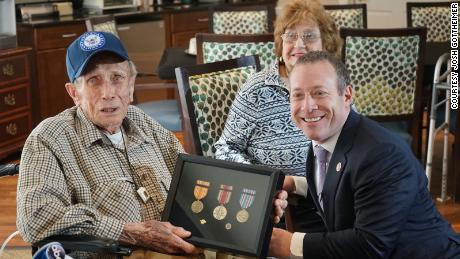 A 92-year-old World War II veteran received his medals more than 70 years after the war