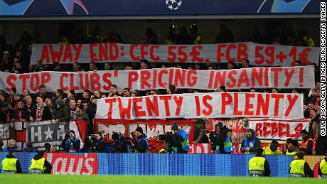 Bayern Munich fans display a banner in relation to ticket prices during the UEFA Champions League match against Chelsea.