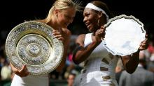 Sharapova poses with Serena Williams after the 2004 Wimbledon final.