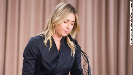 Sharapova speaks at a press conference in downtown LA to announce she had failed a doping test at the Australian Open.