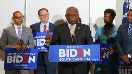 Rep James Clyburn (at center) endorses Joe Biden for President before the 2020 South Carolina primary earlier this year.