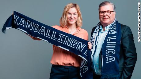 Heidi Pihlaja, head of women's football development of the Football Association of Finland, and Ari Lahti, president of the Football Association of Finland.
