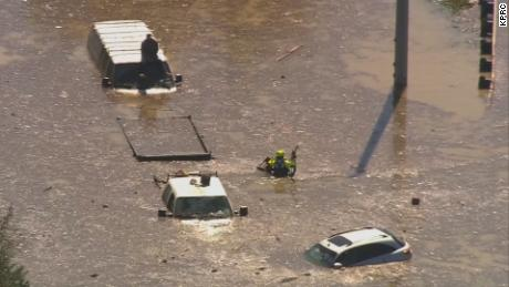 Cars submerged in east Houston after a water main broke.