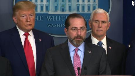 Health and Human Services Secretary Alexander Azar appears at press conference with President Donald Trump and Vice President Mike Pence.