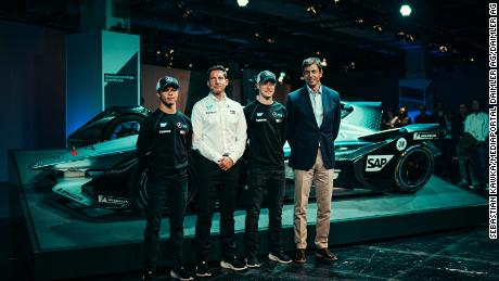 Ian James and Toto Wolff at the Mercedes-Benz EQ Formula E Team launch with the teams' drivers Nyck de Vries and Stoffel Vandoorne.
