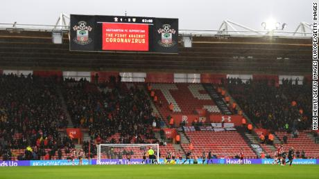 Southampton display a message of support against the coronavirus  outbreak.