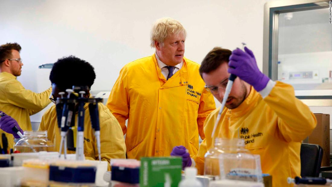 British Prime Minister Boris Johnson visits a London laboratory of the Public Health England National Infection Service.