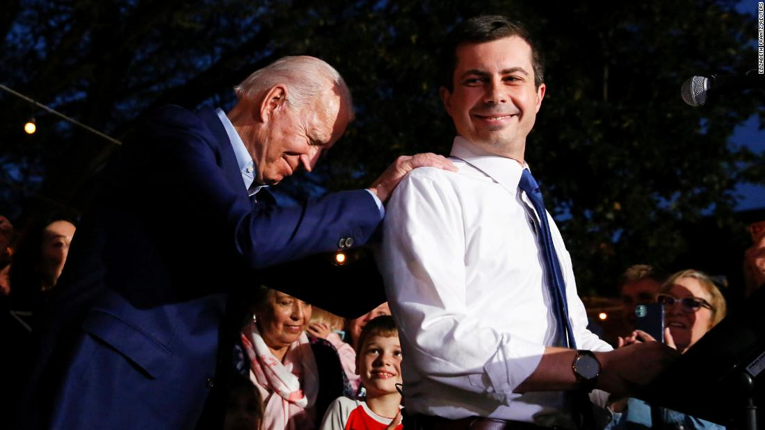 "Biden puts his hands on the shoulders of Pete Buttigieg as Buttigieg <a href=""https://www.cnn.com/2020/03/02/politics/pete-buttigieg-endorsement-obama-biden-calls/index.html"" target=""_blank"">endorses him for president</a> in March 2020. Buttigieg, the former mayor of South Bend, Indiana, had just dropped out of the Democratic race."